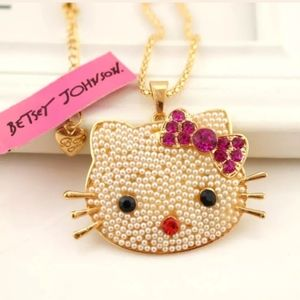 New Betsey Johnson kitty necklace